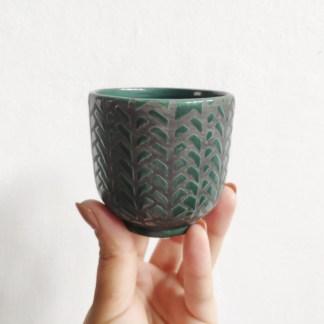 osłonka ceramiczna zielona jodełka 6 cm zielony słoik