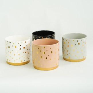 Osłonka ceramiczna w złote kropki 12 cm (4 kolory)